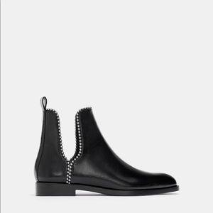 Brand New Zara Black Flat Boots Size 9